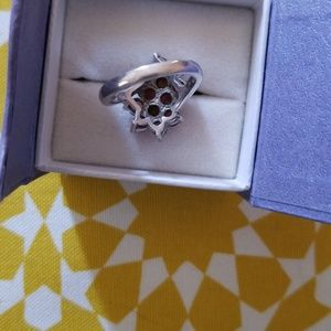 Jewelry - STERLING SILVER GARNET & CITRINE FLORAL RING SZ 7